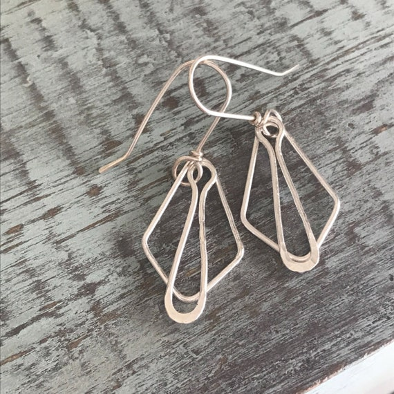 Fine Silver earrings, 18 gauge, silver dangle, drop, two, fused, hammered, Fine silver, .999,  geo shapes, simple elegant