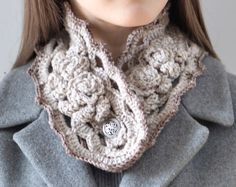 Elegant Rose Collar Scarf, Ivory beige rose scarf, rose scarf, READY to SHIP, in various colours of gray, ivory, custom colours