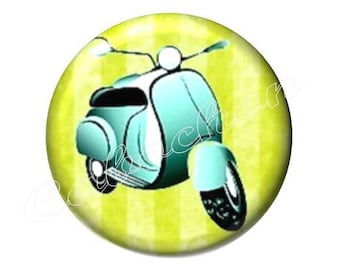2 20mm glass cabochons, Dolce vita vintage scooter