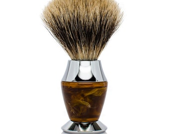 Pure Badger Bristle Faux Horn Handle Shaving Brush - Brush Stand Included -Perfect gift for men for christmas, birthday or fathers day!