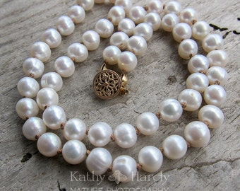 Simple Pearl Necklace    17 Inch Freshwater Pearl Hand-Knotted Necklace   Sweet 16   Wedding Jewelry   Bride   Bridesmaid   Pearls Under 40