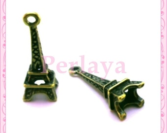 Set of 15 charms eiffel tower bronze REF1284X3