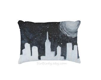 Galaxy pillow cityscape skyline stars full moon outer space made to order artwork toss pillow teen artist galaxy decor custom home decor