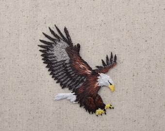 MEDIUM - American Bald Eagle - Landing - Iron On Applique - Embroidered Patch - 157461-A