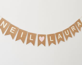 Personalised Name Bunting, Engagement Party Decoration, Custom Name Banner, Wedding Decor, Rustic Bunting, Party Decoration