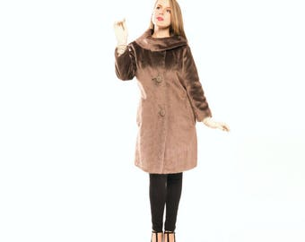60s Brown Faux Fur Coat with Warm Ring Collar Brazotta by Sportowne S