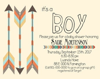 Baby Boy Shower Invite, Arrows