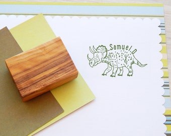 Custom Triceratops Olive Wood Stamp