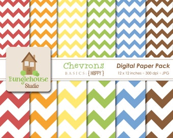 Chevron Digital Paper Pack Instant Download Digital Scrapbooking Basics Happy Style