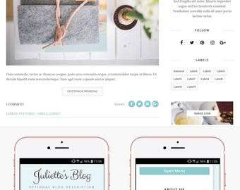 Blogger Template Responsive, Blogger Theme, Minimal, Slider, Template Mint, Photography, Template for Blogger, Premade, Blogspot - Juliette