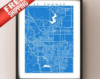 St. Thomas, Ontario Map Print