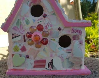 Pretty in Pink mosaic Birdhouse