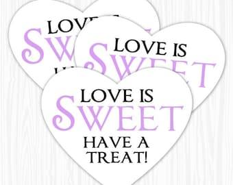 60 Heart Stickers, Purple Love is Sweet, Have a Treat Heart Labels, Wedding Shower Stickers, Bridal Shower, Heart Shaped, 2.25 wide