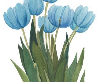 BlueTulipsl Watercolor Reproduction by Wanda Zuchowski-Schick