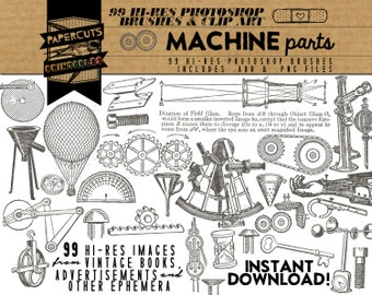Steampunk Machine Parts - 99 Hi-Res Photoshop Brushes / Clip Art / Image Pack - Includes .ABR and .PNG Files