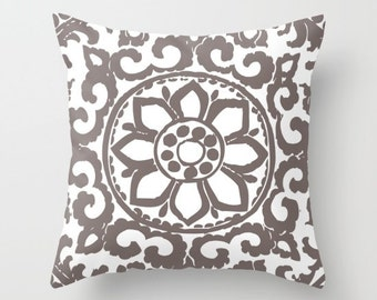 Art Deco Flower Pillow Cover // Taupe Brown and White Pillow Cover // Modern Home Decor // includes insert