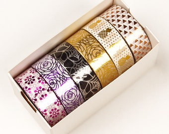 Washi Tape, METALLIC / PURPLE  Washi Tape. 6 roll box, 9/16 x 10 yards each roll,  60 yards