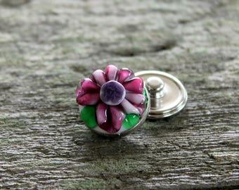Fantasy Floral Snap Button White Pink Purple