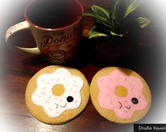Kawaii Donut Felt Coaster Set -  2 piece set - Felting - Barware -Round Coasters - Drinkware - Cookie Coaster - Gift