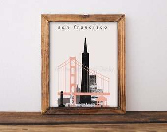 San Francisco Skyline Art San Francisco Art San Francisco Map San Francisco Print San Francisco Poster San Francisco Printable Wall Art