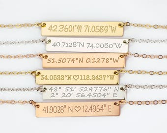 Location Necklace, Coordinates Necklace, Latitude Longitude Necklace, GPS Rose Coordinates Jewelry, engraved bar necklace nameplate necklace