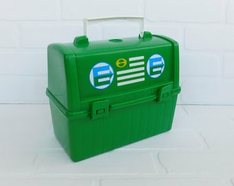 Vintage Child's Green Thermos Lunch Box, Plastic Lunch Box, Collectible Lunch Box