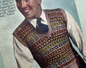 Vintage 1940s Knitting Pattern Mens Pullover Slipover Vest - 40s Fair Isle pattern original colour pattern traditional knitting - Bestway UK