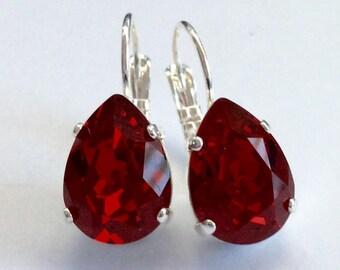 Red Crystal Teardrop Earrings - Swarovski Crystal in Siam Red - Silver Leverback Settings