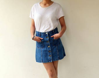 Vintage Denim Skirt, 90s Mini High Waist Jean Skirt,  Boho Hippie Jeans Blue Button Front Cotton Skirt Dress, Size S-M