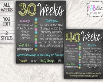 Editable Pregnancy Boards, Personalized Weekly Pregnancy Chalkboards, DIY Week by Week Pregnancy Signs, Editable Pregnancy Signs, Printable