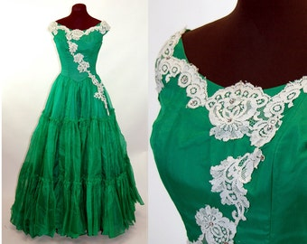 1950s prom dress gown green southern belle dress tiered ruffles off shoulder Size S