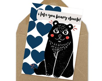 love you beary much card, printable love card   A6