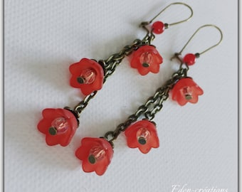Earrings, red, romantic, red and bronze