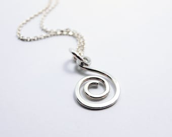 Tiny Spiral Dangle Necklace, Chain, Sterling Silver -  Mother gift, Anniversary, Wedding, Bridesmaid Gift, Dainty, Delicate Fine Jewelry