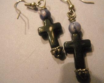 Black Cross Earrings with Natural Ametheist Stone