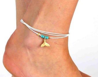 White Anklet - White Ankle Bracelet - Foot Jewelry - Foot Bracelet - Summer Jewelry - Beach Jewelry - Anklets For Women - Beach Wedding