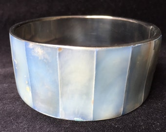 Wide Mother of Pearl Bangle