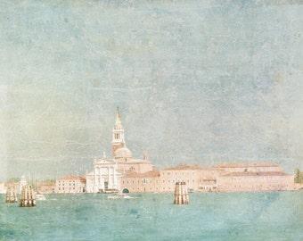 Venice Photography -  Sea of Dreams, The Venetian Lagoon, Venice, Italy, Blue and Gold Travel Photograph, Wall Art