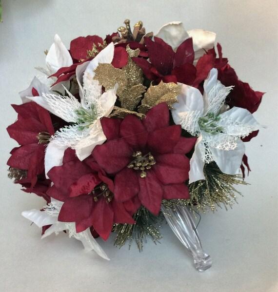 Christmas Wedding Flowers: Christmas Wedding Bouquet Burgundy Poinsettia Bouquet Merlot