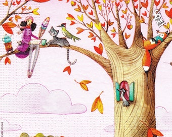059 on a tree fairy chat 1 33 X 33 X 4 design paper napkin