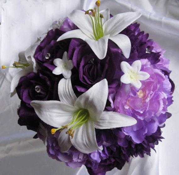 Wedding Bouquet Bridal Silk flowers White LILY Plum PURPLE