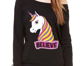 Unicorn Believe Ugly Christmas Slouchy Off Shoulder Oversized Sweatshirt