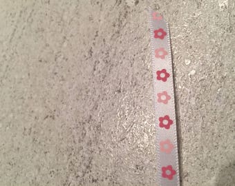 white color ribbon with flower pink 6mm