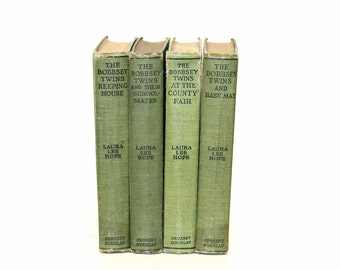 Reserved for Mary C-The Bobbsey Twins Vintage Book Collection Green Home Decor