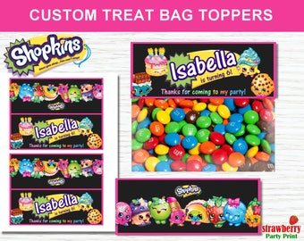 Shopkins Treat Bag Toppers, Shopkins Party Favors, Shopkins Goodie bags Toppers, Shopkins Birthday Decorations, Shopkins Party Decorations
