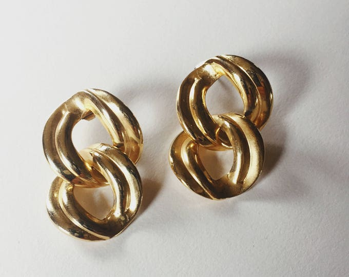 gold chain link earrings | pierced earrings | statement earrings | 80s earrings | Able Shoppe