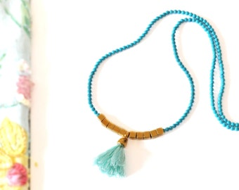 Tassel Statement Necklace - Bohemian Necklace - Turquoise Tribal Necklace - Gemstone Necklace Gold Geometric Necklace