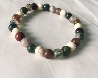 Beaded Stretch Bracelet • Beaded Bracelet • Earth Tone Bracelet • Earth Bracelet • Earth Tone Beaded Bracelet • Stretch Bracelet