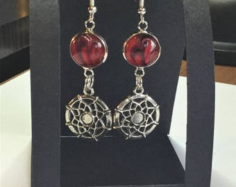 Red and black hand painted glass dome drop earrings with dream catchers