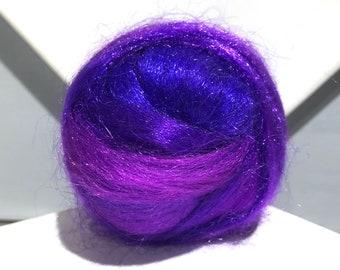"blue, red-Violet Firestar, ""Black Light"" Needle Felting, Spinning Fiber, roving, .5 oz, grape, purple, violet, fuchsia, blending board fiber"